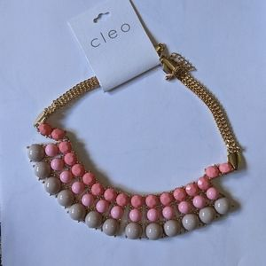 NWT Cleo   pink & gold chunky necklace